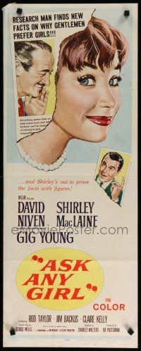 7j028 ASK ANY GIRL insert '59 David Niven finds why gentlemen prefer Shirley MacLaine!