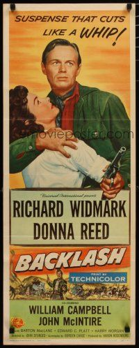 7j032 BACKLASH insert '56 Richard Widmark holds Donna Reed, suspense that cuts like a whip!