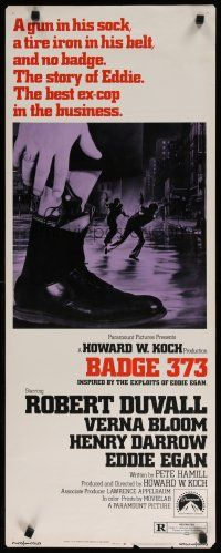 7j033 BADGE 373 insert '73 Robert Duvall is a tough New York cop with a gun in his sock & no badge