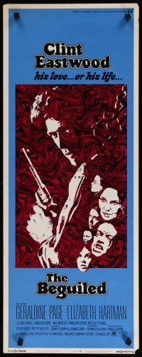 7j037 BEGUILED insert '71 cool psychedelic art of Clint Eastwood & Geraldine Page, Don Siegel