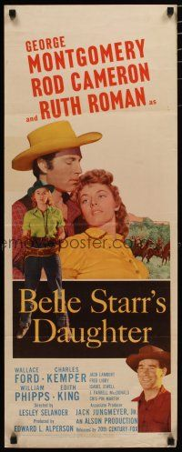 7j038 BELLE STARR'S DAUGHTER insert '48 art of Ruth Roman, George Montgomery, Rod Cameron!