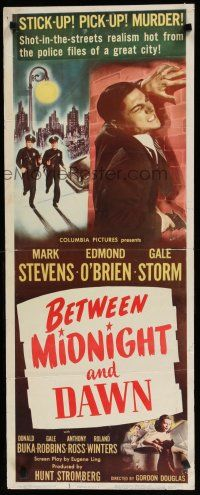 7j042 BETWEEN MIDNIGHT & DAWN insert '50 Mark Stevens, Gale Storm, hot-from-police-files realism!