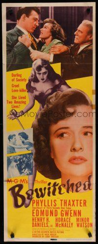 7j043 BEWITCHED insert '45 Phyllis Thaxter is a cruel love-killer and darling of society!