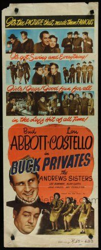 7j053 BUCK PRIVATES insert R48 Bud Abbott & Lou Costello, plus The Andrews Sisters!