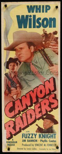 7j060 CANYON RAIDERS insert '51 Whip Wilson with smoking gun & sexy Phyllis Coates!