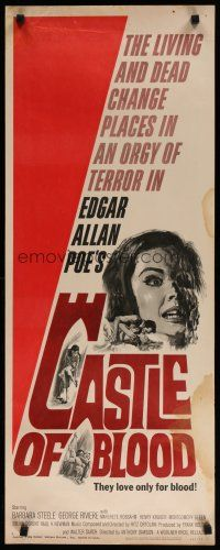 7j064 CASTLE OF BLOOD insert '64 Edgar Allan Poe, the living and dead in an orgy of terror!