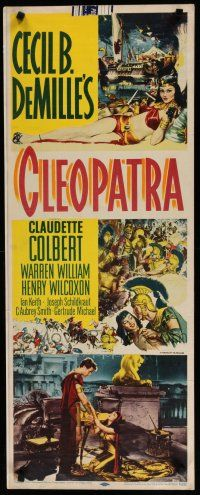 7j073 CLEOPATRA insert R52 sexy Claudette Colbert as the Princess of the Nile, Cecil B. DeMille