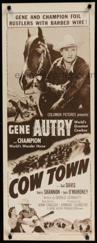 7j078 COW TOWN insert R56 cowboy Gene Autry riding Champion, they foil rustlers with barbed wire!