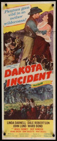 7j079 DAKOTA INCIDENT insert '56 Linda Darnell, passions gone wild in an outlaw wilderness!