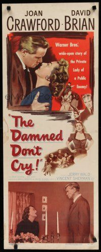 7j080 DAMNED DON'T CRY insert '50 Joan Crawford is the private lady of a Public Enemy!