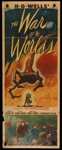 7j001 WAR OF THE WORLDS insert '53 H.G. Wells classic produced by George Pal!