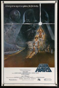 7k001 STAR WARS first printing style A 1sh '77 George Lucas classic sci-fi epic, art by Tom Jung!