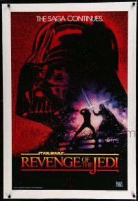 7r050 RETURN OF THE JEDI linen undated teaser 1sh '83 Revenge of the Jedi with Drew Struzan art!
