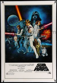 7r001 STAR WARS linen style C 1sh '77 George Lucas, art by Tom Chantrell, printed WITH PG rating!