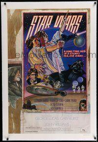 7r003 STAR WARS linen studio style D 1sh '77 circus poster art by Drew Struzan & Charles White!