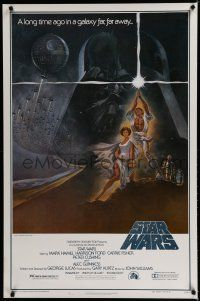 7w715 STAR WARS first printing style A 1sh '77 George Lucas classic sci-fi epic, art by Tom Jung!