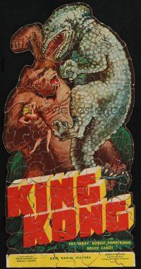7x001 KING KONG jigsaw puzzle '33 150 pieces, fierce giant ape holding Wray & fighting dinosaur!