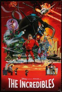 8c374 INCREDIBLES 1sh '04 Disney/Pixar animated sci-fi superhero family, cool McGinnis art!