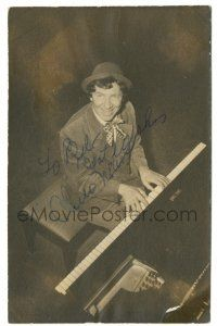 8h001 CHICO MARX signed 3.5x5.5 still '30s wonderful smiling portrait playing the piano!