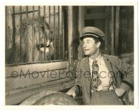 8h204 CIRCUS CLOWN 8x10.25 still '34 great image of Joe E. Brown smiling at lion in cage!