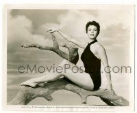 8h220 COLLEEN MILLER 8.25x10 still '54 the beautiful brunette in sexy swimsuit on tree limb!