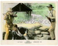 8h036 COMANCHEROS color 8x10.25 still '61 John Wayne & Stuart Whitman with guns by sandbags!