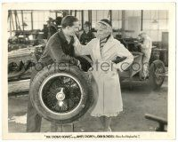 8h231 CROWD ROARS 8x10.25 still '32 Eric Linden leans on a tire and talks with sexy Joan Blondell!