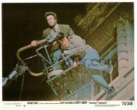 8h037 DIRTY HARRY 8x10 mini LC '71 Clint Eastwood and would-be jumper being lowered by bucket truck!