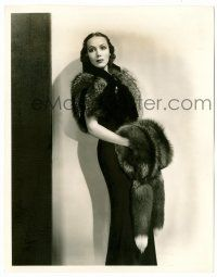 8h262 DOLORES DEL RIO 8x10.25 still '35 full-length modeling fur outfit by Fryer from In Caliente!