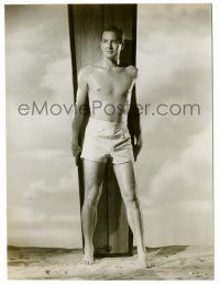 8h264 DON TAYLOR 7.25x9.5 still '51 great beefcake portrait w/ surfboard from Flying Leathernecks!
