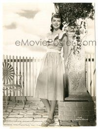 8h269 DOROTHY MALONE 7.25x9.75 still '40s full-length smiling portrait wearing pretty dress!