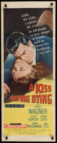 8s625 KISS BEFORE DYING insert 56 great close up art of Robert Wagner  Joanne Woodward