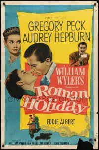 8x722 ROMAN HOLIDAY 1sh '53 Audrey Hepburn & Gregory Peck about to kiss and riding on Vespa!
