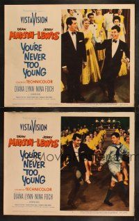 8y999 YOU'RE NEVER TOO YOUNG 2 LCs '55 great images of suave Dean Martin & wacky Jerry Lewis!