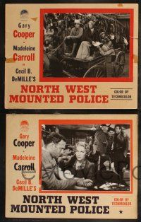8y872 NORTH WEST MOUNTED POLICE 4 English LCs '40 Cecil B. DeMille, Gary Cooper, Madeleine Carroll