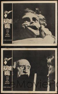 8y913 HORROR HOTEL 3 LCs '60 creepy English horror images, cool border art of skeleton hand!