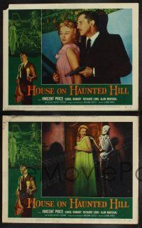8y290 HOUSE ON HAUNTED HILL 8 LCs '59 William Castle, Vincent Price, classic horror images!