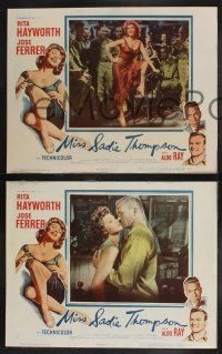 8y927 MISS SADIE THOMPSON 3 LCs '53 images of sexy Rita Hayworth w/ Aldo Ray & Charles Bronson!