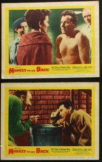 8y755 MONKEY ON MY BACK 6 LCs '57 Cameron Mitchell chooses a woman over dope, Dianne Foster!