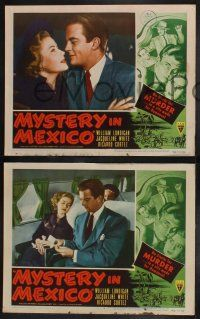 8y929 MYSTERY IN MEXICO 3 LCs '48 Robert Wise, William Lundigan, White, Jose Torvay vs. Walter Reed!