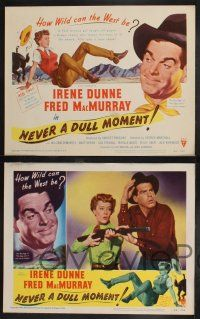 8y447 NEVER A DULL MOMENT 8 LCs '50 Irene Dunne, Fred MacMurray, how wild can the West be?