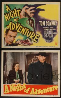 8y451 NIGHT OF ADVENTURE 8 LCs '44 Tom Conway, Audrey Long, Edward Brophy!