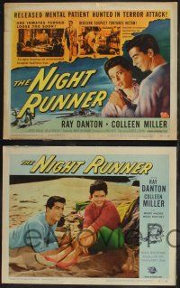 8y453 NIGHT RUNNER 8 LCs '57 released mental patient Ray Danton romances pretty Colleen Miller!