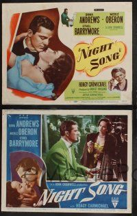 8y454 NIGHT SONG 8 LCs '48 Dana Andrews, Merle Oberon, Ethel Barrymore, Hoagy Carmichael