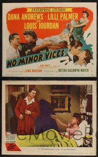 8y459 NO MINOR VICES 8 LCs '48 Dana Andrews, sexy Lilli Palmer & Louis Jourdan!