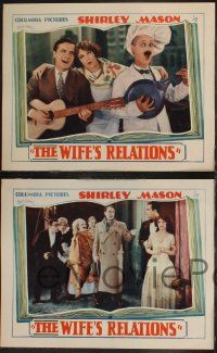 8y950 WIFE'S RELATIONS 3 LCs '28 cool images of Gaston Glass, Shirley Mason, Ben Turpin!