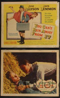 8y685 YOU CAN'T RUN AWAY FROM IT 8 LCs '56 Jack Lemmon & Allyson in remake of It Happened One Night
