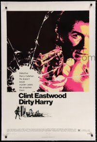 9f093 DIRTY HARRY linen 1sh '71 great c/u of Clint Eastwood pointing gun, Don Siegel crime classic!