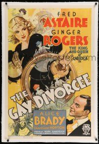 9f117 GAY DIVORCEE linen 1sh '34 wonderful art of Fred Astaire & Ginger Rogers w/huge wedding ring!