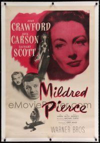 9f220 MILDRED PIERCE linen 1sh '45 Joan Crawford is the woman most men want, but shouldn't have!